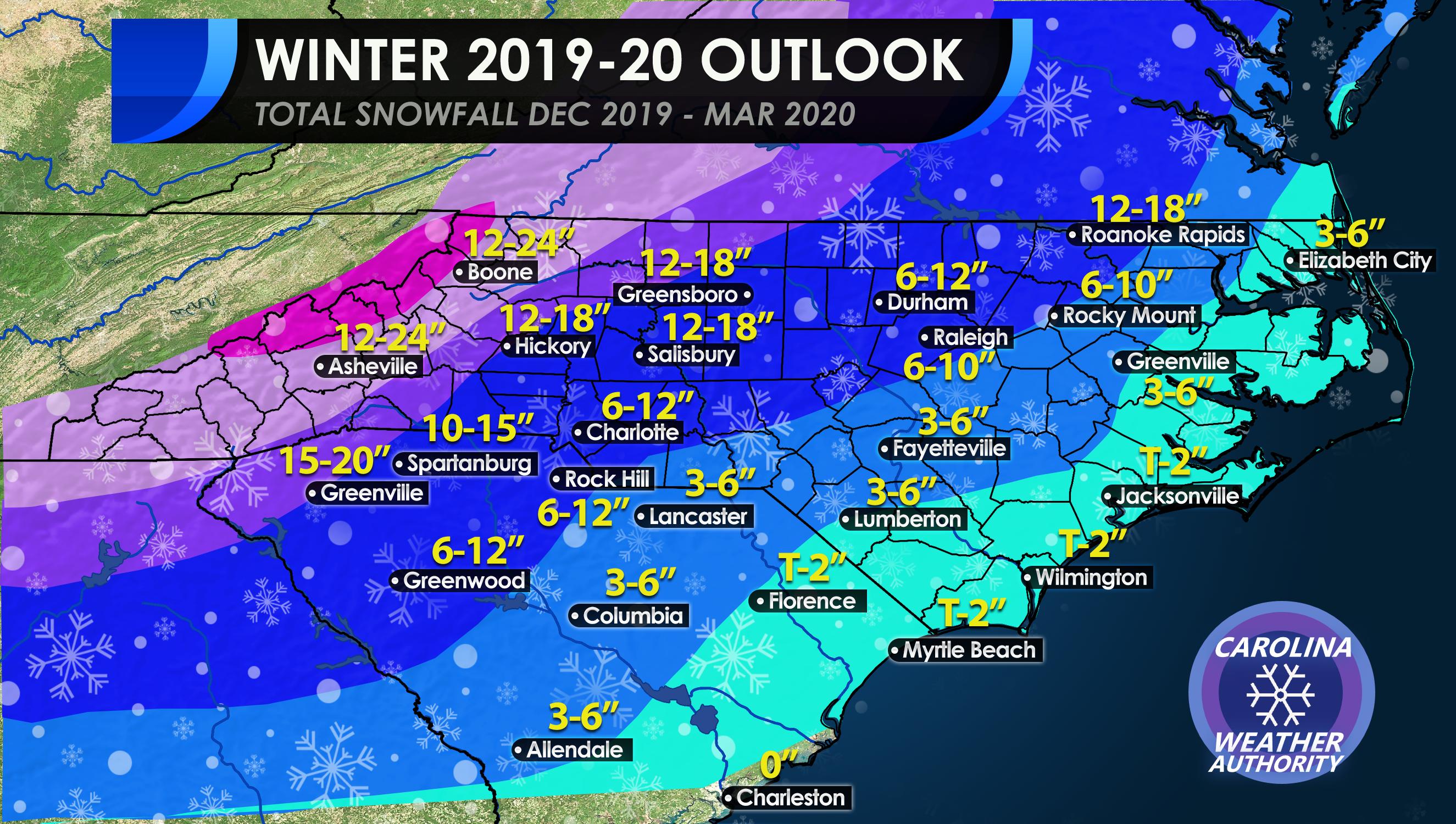 Carolinas Winter 2019 2020 Total Snow Outlook