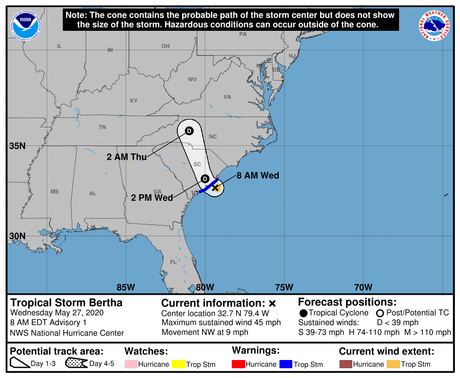 Tropical Storm Bertha has a path running straight through the Carolinas