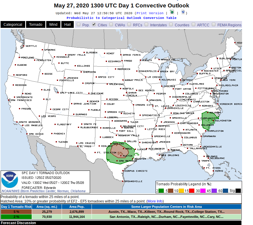 The outlook for tornadic activity across the US