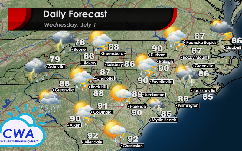 Daily Forecast for Wednesday; High Temperatures and weather forecast for North and South Carolina