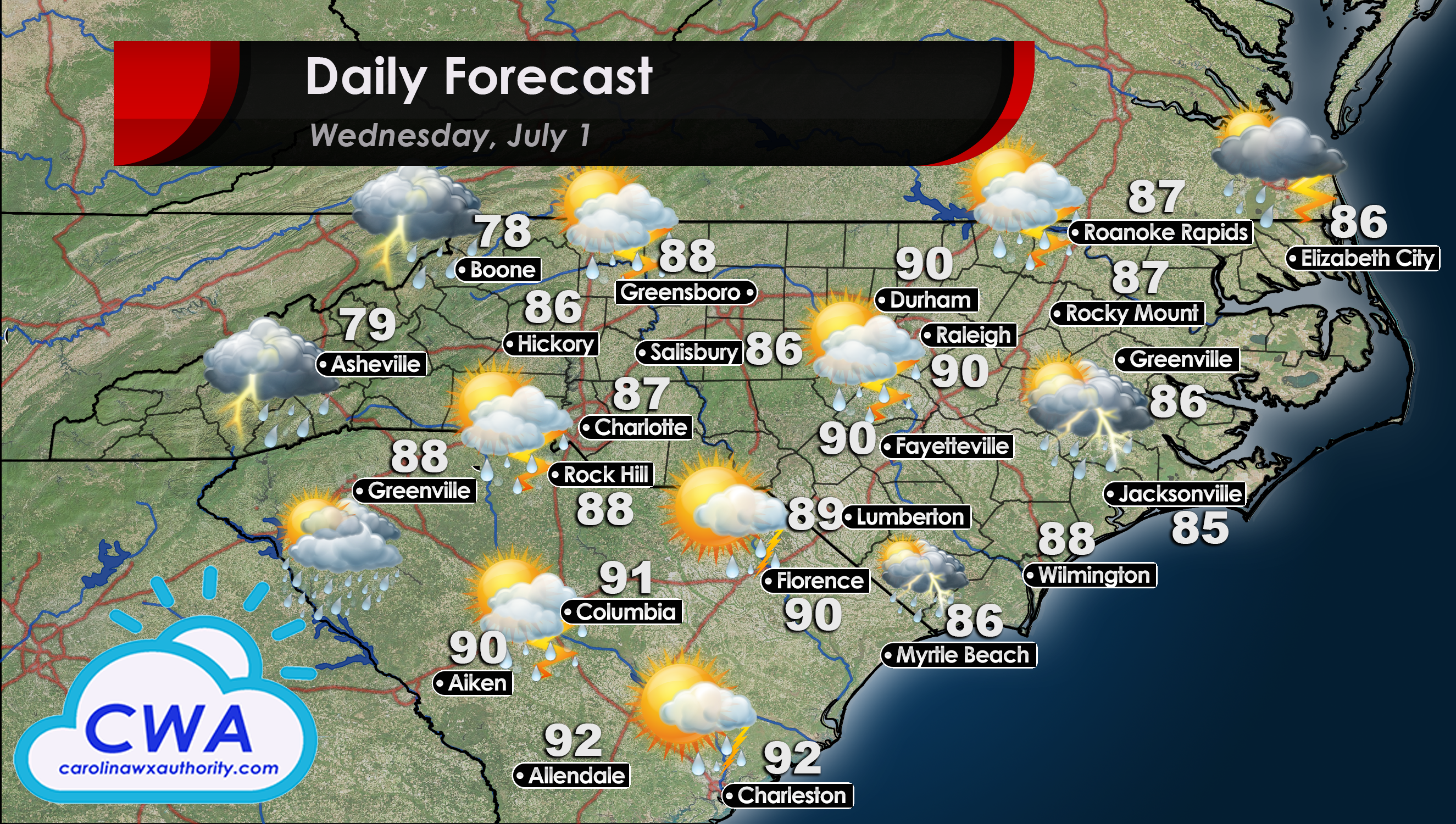 Weather Forecast and High Temperatures for North and South Carolina