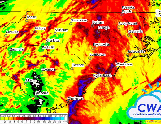 Rainfall totals from Hurricane Isaias